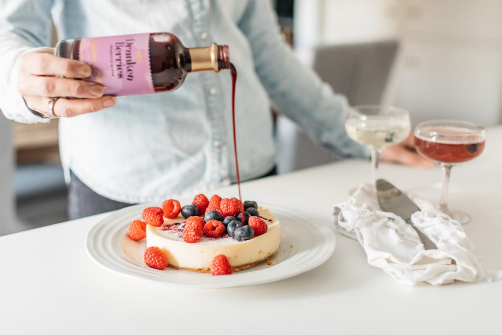 Drunken Berries Prosecco mixer on cheesecake