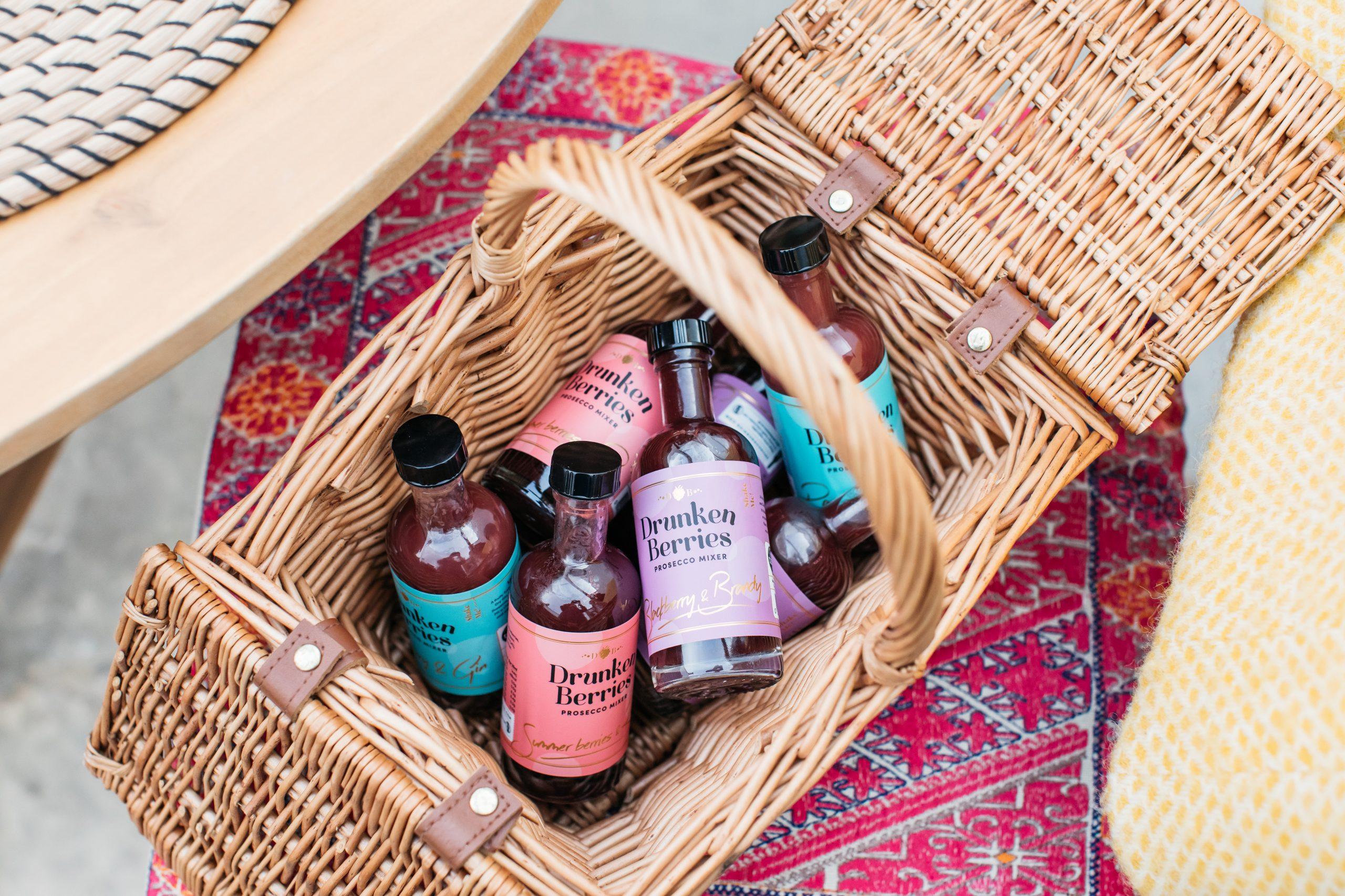 Drunken Berries prosecco mixers in a picnic basket
